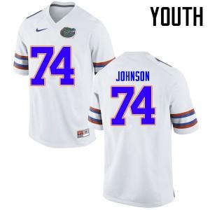 Youth Florida Gators #74 Fred Johnson College Football Jerseys White 220514-394