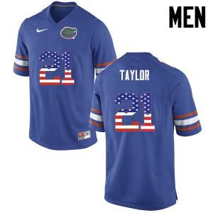 Men Florida Gators #21 Fred Taylor College Football USA Flag Fashion Blue 563068-684