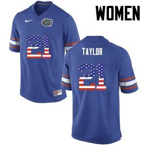 Women Florida Gators #21 Fred Taylor College Football USA Flag Fashion Blue 324745-159