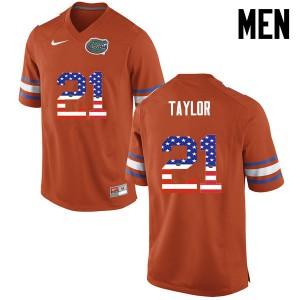 Men Florida Gators #21 Fred Taylor College Football USA Flag Fashion Orange 708895-851