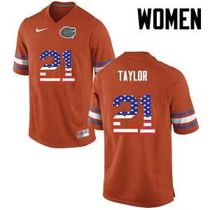 Women Florida Gators #21 Fred Taylor College Football USA Flag Fashion Orange 970510-542