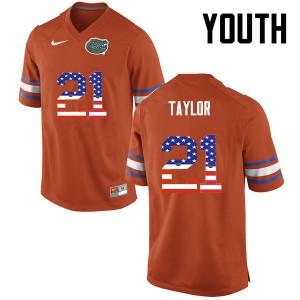 Youth Florida Gators #21 Fred Taylor College Football USA Flag Fashion Orange 728109-207
