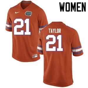 Women Florida Gators #21 Fred Taylor College Football Jerseys Orange 276095-803