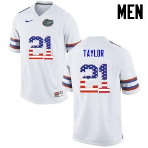 Men Florida Gators #21 Fred Taylor College Football USA Flag Fashion White 729304-261