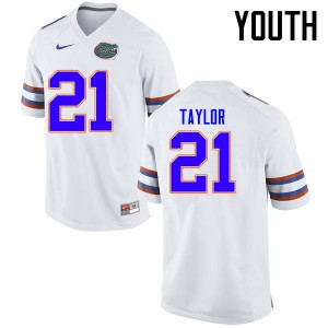 Youth Florida Gators #21 Fred Taylor College Football Jerseys White 551781-237