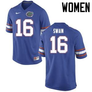 Women Florida Gators #16 Freddie Swain College Football Jerseys Blue 157538-288
