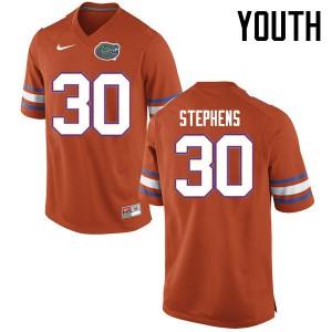 Youth Florida Gators #30 Garrett Stephens College Football Jerseys Orange 306468-925