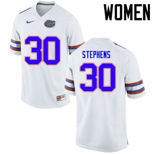 Women Florida Gators #30 Garrett Stephens College Football Jerseys White 764397-362