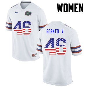 Women Florida Gators #46 Harry Gornto V College Football USA Flag Fashion White 977110-428
