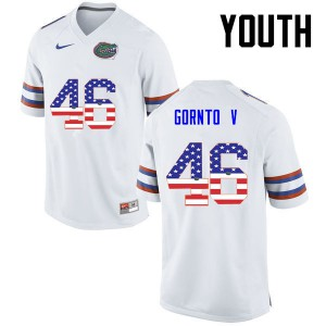 Youth Florida Gators #46 Harry Gornto V College Football USA Flag Fashion White 803638-356