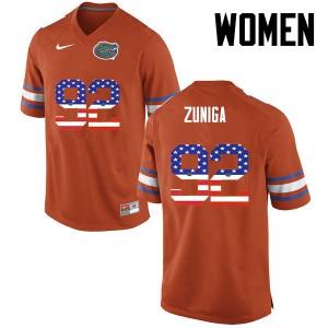 Women Florida Gators #92 Jabari Zuniga College Football USA Flag Fashion Orange 430393-293