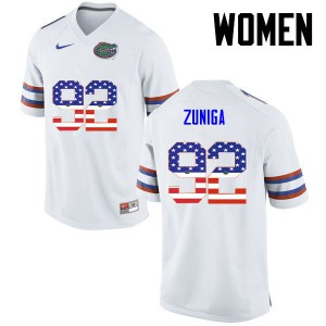 Women Florida Gators #92 Jabari Zuniga College Football USA Flag Fashion White 744744-716
