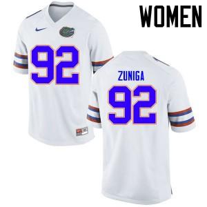 Women Florida Gators #92 Jabari Zuniga College Football Jerseys White 485909-495