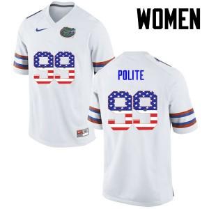 Women Florida Gators #99 Jachai Polite College Football USA Flag Fashion White 420687-245
