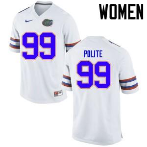 Women Florida Gators #99 Jachai Polite College Football Jerseys White 356631-804