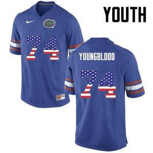 Youth Florida Gators #74 Jack Youngblood College Football USA Flag Fashion Blue 663826-205
