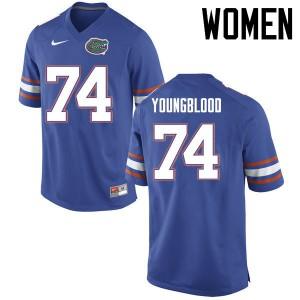 Women Florida Gators #74 Jack Youngblood College Football Jerseys Blue 584685-762