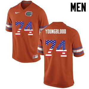 Men Florida Gators #74 Jack Youngblood College Football USA Flag Fashion Orange 560097-822
