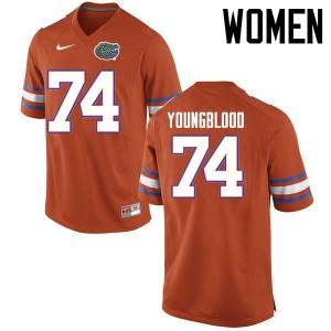Women Florida Gators #74 Jack Youngblood College Football Jerseys Orange 826597-282