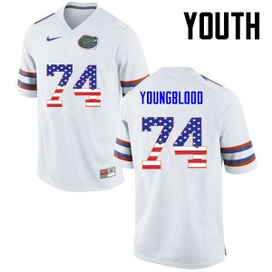 Youth Florida Gators #74 Jack Youngblood College Football USA Flag Fashion White 699704-645