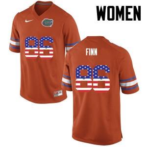 Women Florida Gators #86 Jacob Finn College Football USA Flag Fashion Orange 269291-604