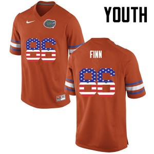 Youth Florida Gators #86 Jacob Finn College Football USA Flag Fashion Orange 974997-689