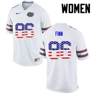 Women Florida Gators #86 Jacob Finn College Football USA Flag Fashion White 849669-277