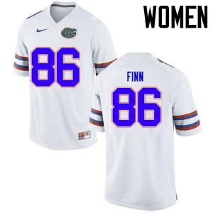Women Florida Gators #86 Jacob Finn College Football Jerseys White 776941-429