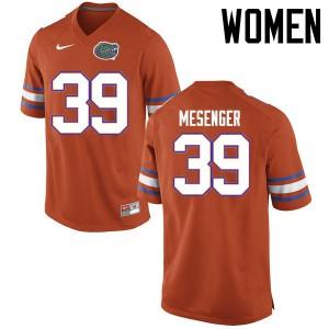 Women Florida Gators #39 Jacob Mesenger College Football Jerseys Orange 750176-190