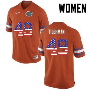 Women Florida Gators #49 Jacob Tilghman College Football USA Flag Fashion Orange 140072-455