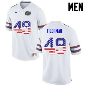 Men Florida Gators #49 Jacob Tilghman College Football USA Flag Fashion White 268884-883