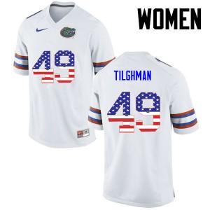 Women Florida Gators #49 Jacob Tilghman College Football USA Flag Fashion White 742272-898