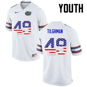 Youth Florida Gators #49 Jacob Tilghman College Football USA Flag Fashion White 183473-811