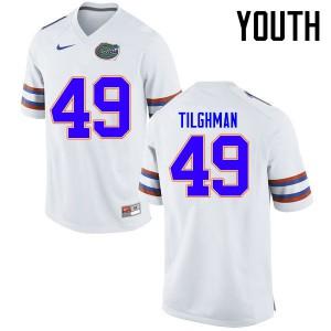 Youth Florida Gators #49 Jacob Tilghman College Football Jerseys White 641950-194
