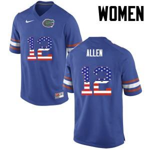 Women Florida Gators #12 Jake Allen College Football USA Flag Fashion Blue 587652-303