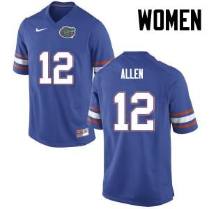 Women Florida Gators #12 Jake Allen College Football Blue 402674-214