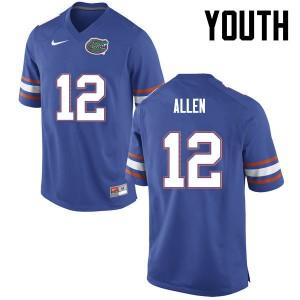 Youth Florida Gators #12 Jake Allen College Football Blue 487775-836
