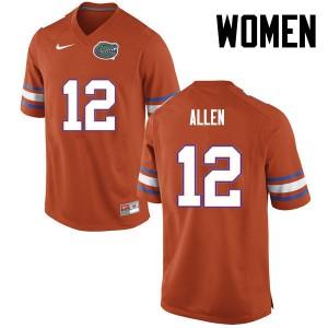 Women Florida Gators #12 Jake Allen College Football Orange 777671-619