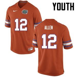 Youth Florida Gators #12 Jake Allen College Football Orange 285673-132