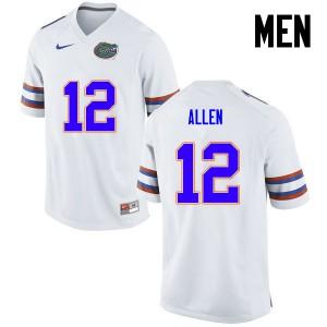 Men Florida Gators #12 Jake Allen College Football White 900459-530