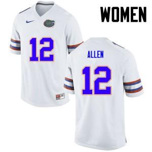 Women Florida Gators #12 Jake Allen College Football White 732297-700