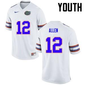 Youth Florida Gators #12 Jake Allen College Football White 344576-154
