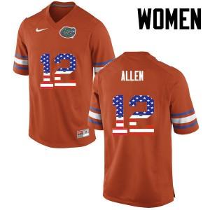 Women Florida Gators #12 Jake Allen College Football USA Flag Fashion Orange 228832-948