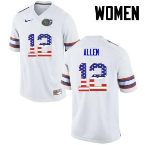 Women Florida Gators #12 Jake Allen College Football USA Flag Fashion White 501935-426