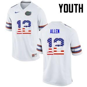 Youth Florida Gators #12 Jake Allen College Football USA Flag Fashion White 245517-919
