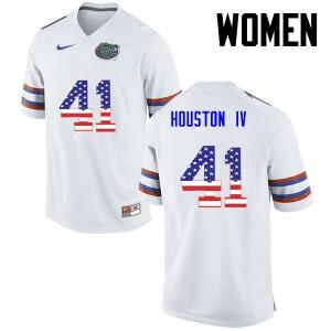 Women Florida Gators #41 James Houston IV College Football USA Flag Fashion White 577092-526