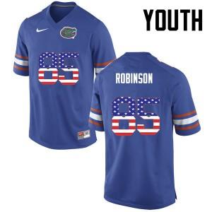 Youth Florida Gators #85 James Robinson College Football USA Flag Fashion Blue 389018-821