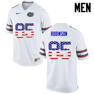 Men Florida Gators #85 James Robinson College Football USA Flag Fashion White 942949-726