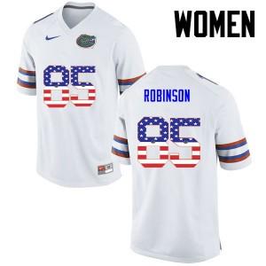 Women Florida Gators #85 James Robinson College Football USA Flag Fashion White 260723-360