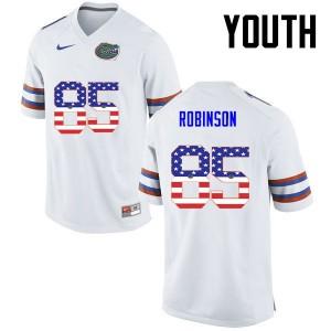 Youth Florida Gators #85 James Robinson College Football USA Flag Fashion White 872004-557